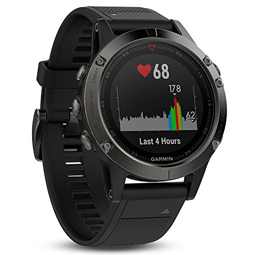 Garmin Fenix 5 Multisport GPS Watch with Outdoor Navigation and Wrist-Based Heart Rate - Slate Grey with Black Band