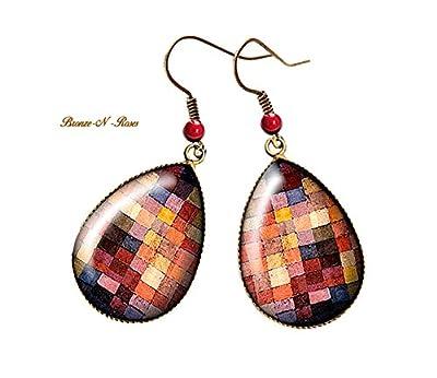 Boucles d'oreilles gouttes Carreaux multicolores cabochon bronze pendant Paul Klee