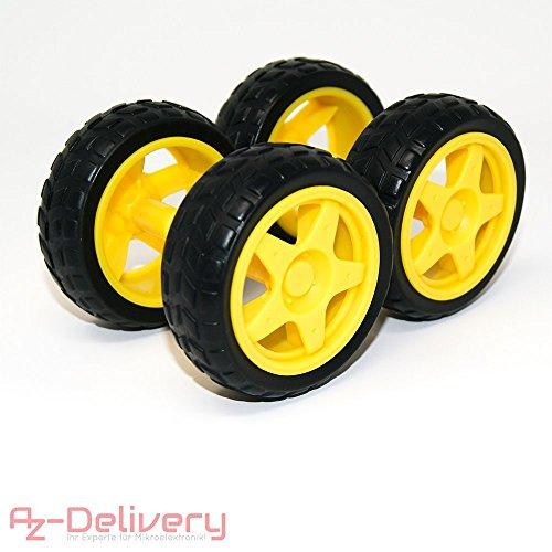 AZDelivery ⭐⭐⭐⭐⭐ 4 x Kunststoff Reifen Wheels für Smart Auto Robot Car für Arduino, Raspberry Pi -