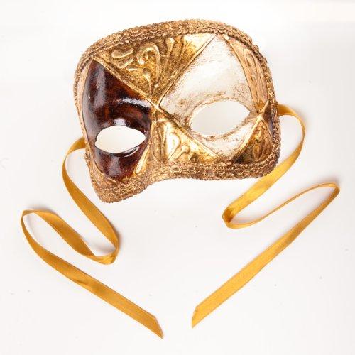 cama24com Venezianische Maske Domino Scacchi Gold Weiß Wurzelholz-Optik Palandi®