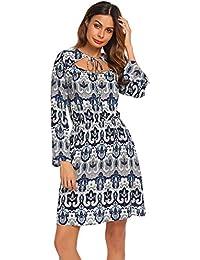 fe5f1755f9a815 Damen Herbst Bohemian Tunikakleid Strandkleid Langarm Druckkleider A-Linie  Kleid Elegant Blusenkleid Jerseykleid mit weit