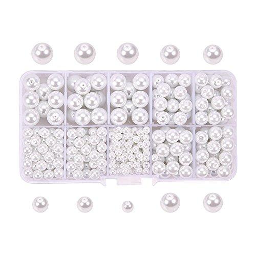 Kailusee 585 Stück Pur Weiß Glasperlen Perlen für Schmuck Machen, Perlen Handwerk, DIY Zubehör, 4mm 6mm 8mm 10mm Gemischte Größe, Aufbewahrungsbox Verpackung (Schmuck Box Organizer Billig)
