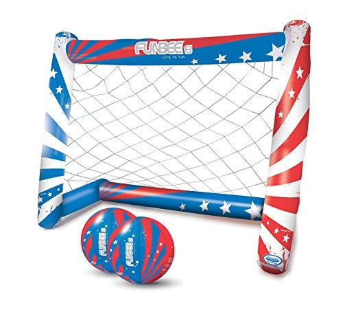 Funbee Cage de Football Gonflable Enfants - 150 x 120 cm - 2 Ballons gonflables Inclus - Montage Facile sans Outil - Extérieur et intérieur - Dès 5 Ans- D'arpèje - OFUN319