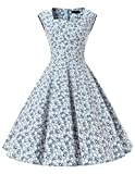 Dresstells 50er Retro Audrey Hepburn Schwingen Pinup Polka Dots Rockabilly Kleid Light Blue Flower XL