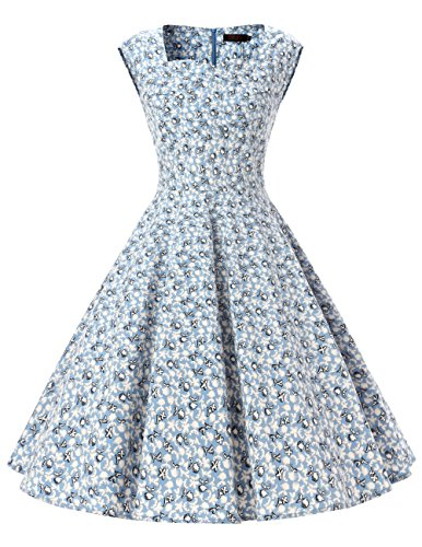 Dresstells 50er Retro Audrey Hepburn Schwingen Pinup Polka Dots Rockabilly Kleid Light Blue Flower L - Frauen Kleider Für Satin Blue
