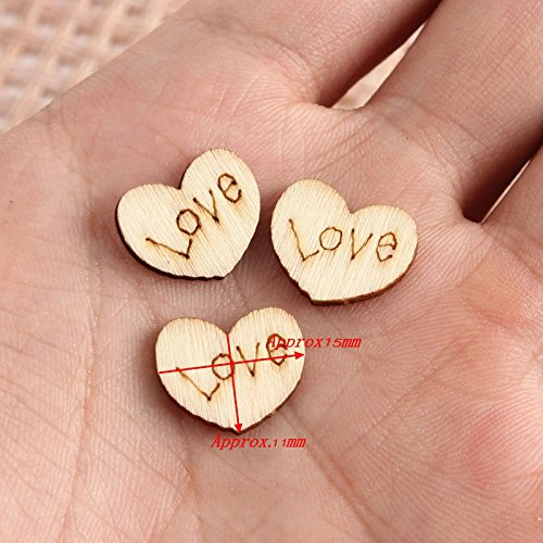 Mayitr 150pcs Wooden Hearts Confetti Plaque Love Shape for Wedding Table Scatter Decor Craft - 15x11mm