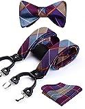 Hisdern Controlla i Dots 6 clip Bretella & Cravatta a farfalla & Pocket Square Set Forma a Y Regolabile bretelle viola