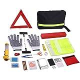 Auto Emergency Kit, Multifunktionale Pannenhilfe Auto Notfall-Kit mit Starthilfekabel, Werkzeugtasche und Pannenwerkzeug, Sicherheitsweste, Abschleppseil, Taschenlampe, Reifendruckmessgeräte (40 in 1)