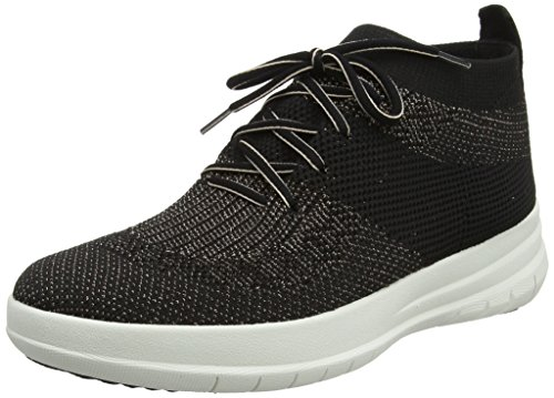 FitFlop Damen Uberknit Slip-on High Top Sneaker Geschlossene Ballerinas, Multicolour (Black/Bronze Metallic 501), 40 EU