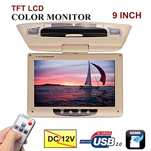 RUILIS Flip Down Screen Overhead Multimedia Video Onitor 9 Zoll 800 * 480 Auto Monitor Dachmontage LCD Farbe MonitorCeiling Dachmontage Anzeige -