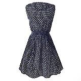 SODIAL Robe imprimee sans manches en motif des pois petites en O-col pour femme Couleur: Noir et blanc Asiatique XXL / US XL