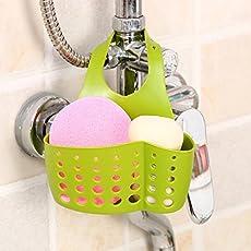 hpk Plastic Kitchen Hanging Drain Basket Bath Storage Gadget(Green)