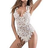 Geilisungren Vestido de Tanga de Babydoll para Mujer Ropa Interior de Encaje pasión Vestido Babydoll Halter Profundo(Blanco,S)