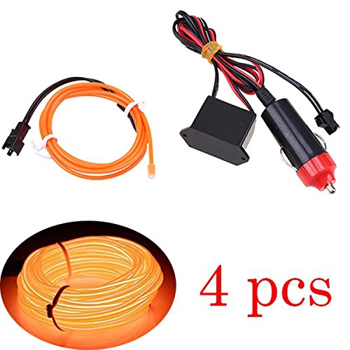 4pcs Orange Neon Beleuchtung 3m Flexibel Wasserdicht EL Kabel mit 12V Zigarettenanzünder Adapter Kontroller für Weihnachten Halloween Partys Kostüm Autos Dekor Geschenk