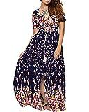 Aofur Damen V Ausschnitt Baumwolle Langes Party Ballkleid Abendkleid Beiläufiges kleid große größen 36-50 (DE 50/Tag XXXL, Multicolored)