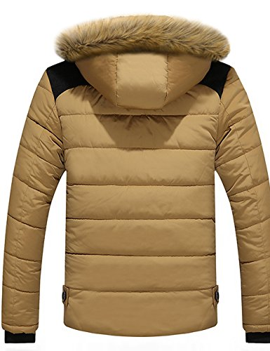 Menschwear Herren Winter Warme Jacke Daunenjacke Daunenjacke mit abnehmbarem Pelzkragenskapuze schlanke Passform XS-3XL Khaki
