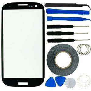 Samsung Galaxy S3 Display Ersatz-Set bestehend aus 1x Austausch Display-Glas für Samsung Galaxy S3 9300 / 1x Pinzette / 1x Rolle Klebeband 2 mm / 1x Werkzeugsatz / 1x Eco-Fused® Mikrofaser Reinigungstuch