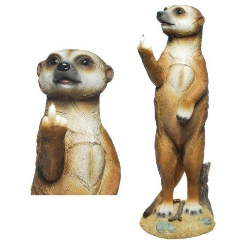Freches Erdmännchen Eddy zeigt Stinkefinger Figur Gartenfigur TOP Tierfigur NEU