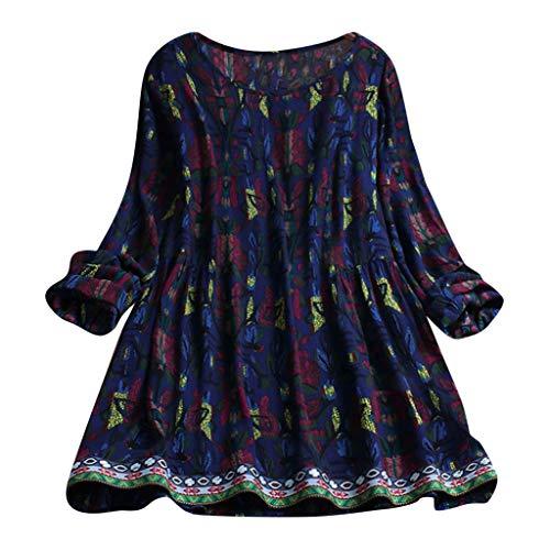 MRULIC Damen Fledermaus Hemd Lässig Locker Top Dünnschnitt Bluse Frühling Neu T-Shirt Leinenbluse Freundin(E2-Marineblau,EU-48/CN-4XL)