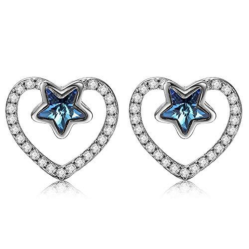 DIVADIS Pendientes Mujer Plata Ley 925 Cristales Swarovski