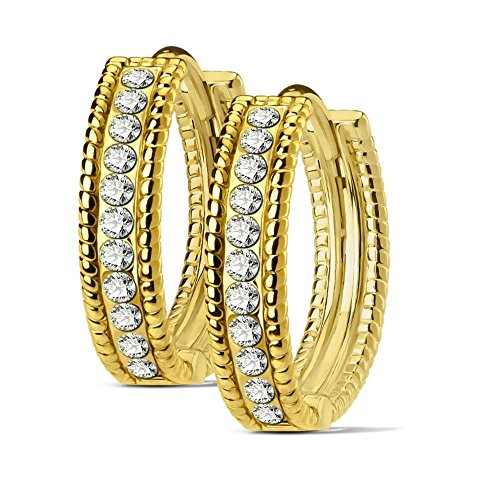 Bungsa goldene Damen-Creolen Kristalle 4mm I hochwertige Ohrringe mit klaren Kristallen für Frauen Edelstahl