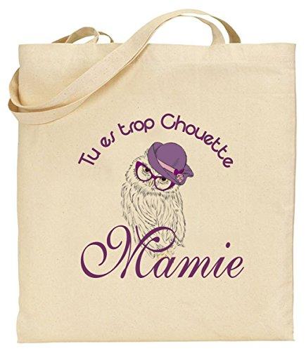 Tote Bag - Sac en Toile - Cadeau pour Mamie - Cadeau pour la fête des Grands Mères, Noël, Anniversaire, Fête de Mamy (Sac 1)