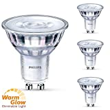 Philips 4er Set LED Leuchtmittel, dimmbar, GU10, 5,5 W (50 W), 2200-2700 K, 345 lm, WarmGlow, A+