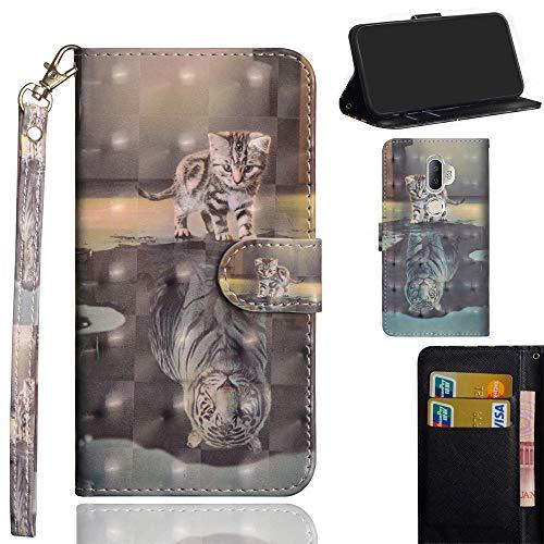 Ooboom Alcatel 3V Hülle 3D Flip PU Leder Schutzhülle Handy Tasche Case Cover Ständer mit Trageschlaufe Magnetverschluss für Alcatel 3V - Katze Tiger
