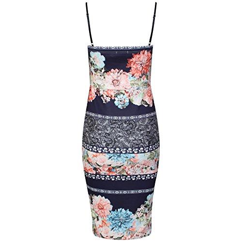 Damen Panelled Blumendruck Plunge Cami Kleid EUR Größe 36-42 Marine