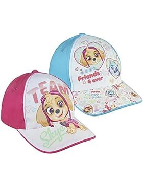 Pack 2 gorras de tela adaptables 2 diseños diferentes Patrulla Canina Skye (Paw Patrol) rosa y azul