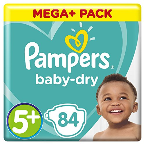 Pampers Baby-Dry Windeln Größe5+ (12-17kg), Luftkanäle für atmungsaktive Trockenheit die ganze Nacht, extra saugfähig, Mega Plus Pack, 1er Pack (1 x 84 Stück) (Saugfähig Pack)