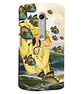 Blue Throat Fish In King Hard Plastic Printed Back Cover/Case For Moto X Style