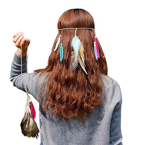 Amorar Braut Kopfschmuck Girlande Haarband Bohemien Feder Stirnband Federschmuck Haarschmuck Indische Halskette Kopfbedeckung Hippie Haarband Flechten Haar Band für Damen Mädchen