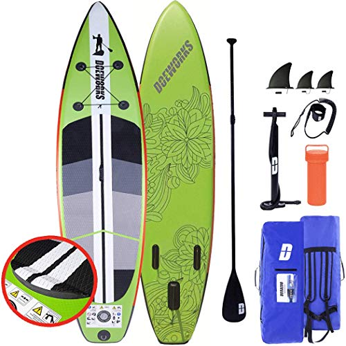 CAMPMORE Stand Up Paddle Board Sup Inflable, inclusivo Paleta de 3 Piezas/Bomba de Aire de Doble Recorrido con Calibre/Bolsa de...