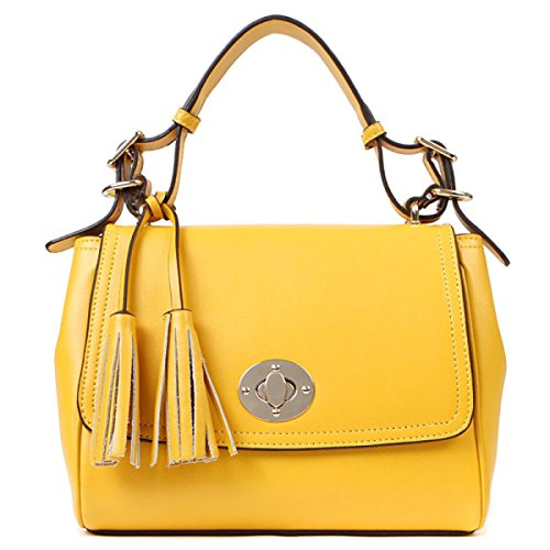 PACK Ladies Leather Ladies Dolce Tassels Messenger Bag Ladies Piccolo Borsa Portatile,C:Yellow C:Yellow