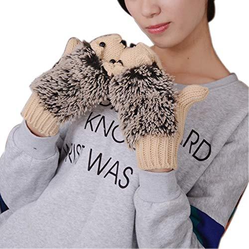 ZHANGYUGEGE La Mujer cálido Invierno Guantes Kawaii Cartoon Erizo Tejer Crochet Gloves para niña Moda Cute Novedad sin Dedos Mitten,Beige