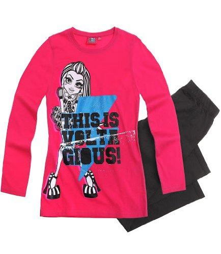 Monster High süßer Mädchen Schlafanzug 2-Teiler Schlafanzug Pyjama lang 3 Motive, Farbe:pink/schwarz;Größe:128