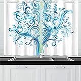 JSXMNA Blue Winter Tree Swirls Isolated On Kitchen Tende per finestre Tende per Tende per caffè, Bagno, Lavanderia, Soggiorno Camera 26 x 39 Pollici 2 Pezzi