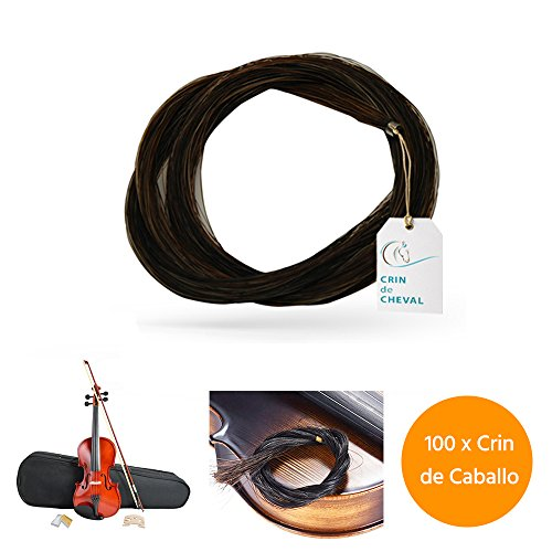 Pferdehaar - Cent Hank/Pferdekopf für Violinbogen Qualite AAA Provenance Mongolei, 1000 g, 81-82 cm, Weiß oder Schwarz Taille Schwarz