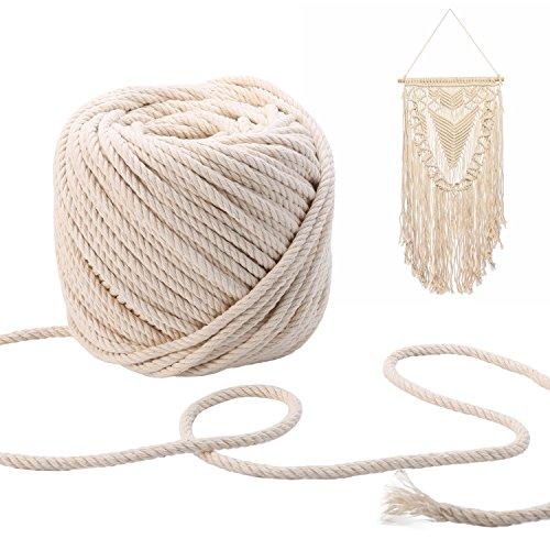 PDTO Baumwollkordel 5mm Baumwolle Verdrehte Seil Macrame Beige Schnur Artisan Dekorieren Bastelschnur 65m -