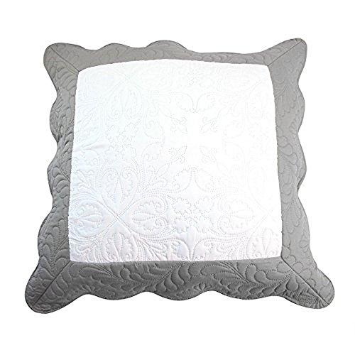 Nuances du Monde Housse de coussin Emma Polyester Blanc/Gris 60 x 60 x 60 cm