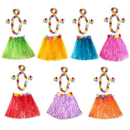 LEEQ 7 Sets hawaiianischer Luau Hula Grass Rock Blume Armbänder Stirnband Halskette Set 40cm für Kostümparty, Events, Geburtstage, Feier (Mehrfarbig)