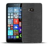 Microsoft Lumia 535 TPU Gummi Hülle Schwarz, Metall Optik Brush Design, Schutzcover Bumper, Handyhülle aus Silikon Lumia 535 Cover Rückschale Schwarz, Microsoft Lumia 535 (5,0 Zoll (12,7 cm)