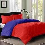 #8: Reversible AC Single Bed Comforter/Blanket/Quilt/Duvet For Winters- Red & Navy Blue