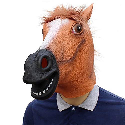 Machen Pferdekopf Einen Sie Kostüm - IENPAJNEPQN Latex Pferdekopf Maske Halloween Party Maskerade Show Tier Kostüm Masken Requisiten (Color : Brown, Size : One Size)
