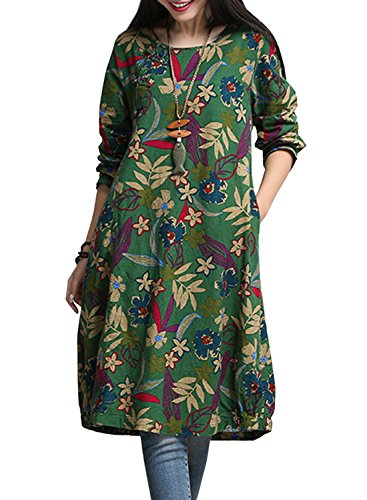achicigirl-secret-garden-floral-print-batwing-sleeve-plus-size-dress-olive-green-m