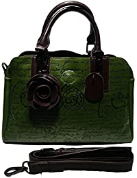 Magnolia Women's Beautiful Handbag In Green Colour With Long Belt And Three Partition