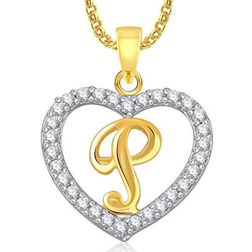 Meenaz 'P' Letter Heart Pendant Locket Alphabet For Women And Men Ps408