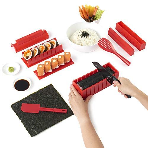 Sushi kit - sushiaya da sushi maker deluxe rosso completo con coltello e esclusiva online video tutorial 11 piece diy sushi set - facile e divertente per principianti - sushi roll maker - maki rotoli