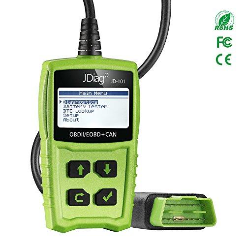 Code Reader, OBD2 Auto Diagnose OBD II Code Scanner EOBD für alle Fahrzeuge ab 2000 mit OBD II-Protokolle, mit Standard-16-polige OBD-II-Schnittstelle zum Lesen und Löschen von Fehlercodes und Batterietest